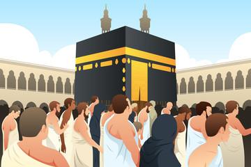 Muslim Pilgrims Walking Around Kaaba in Mecca