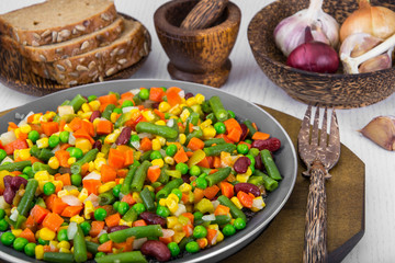 Mix of roasted vegetables in pan