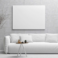 White poster on concrete wall, living room, 3d illustration