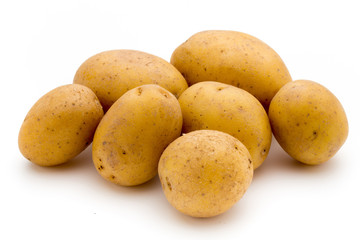 Raw potato isolated on white background.