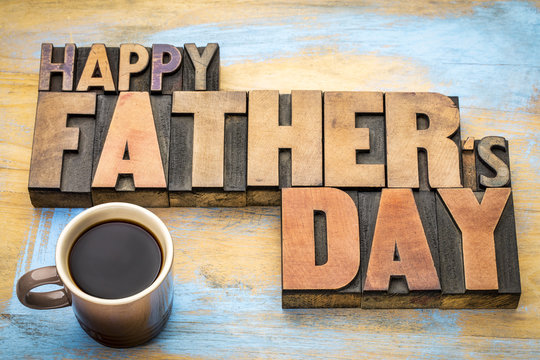 happy father day greeing card in wood type