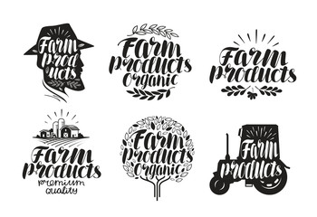 Farm products, lettering. Agriculture, farming label or logo. Calligraphy vector illustration