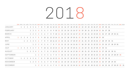 Simple Calendar 2018. Week starts on Sunday. Template for printing design.