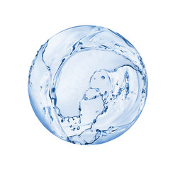 Tuinposter Water Round sphere made of water splashes isolated on white background