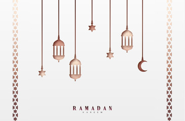 Arabic lanterns or lamps, hanging half a month and a star. Ramadan Kareem holiday greeting card design