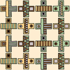 Seamless vector pattern. Geometrical background with hand drawn decorative tribal elements in vintage brown colors. Print with ethnic, folk, traditional motifs. Graphic vector illustration.