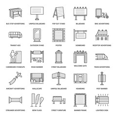 Outdoor advertising, commercial and marketing flat line icons. Billboard, street signboard, transit ads, posters banner and other promotion design element. Trade objects thin linear sign. Black color.
