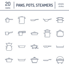 Pot, pan and steamer flat line icons. Restaurant professional equipment signs. Kitchen utensil - wok, saucepan, eathernware dish. Thin linear signs for commercial cooking store.