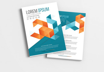 Brochure Layout with Teal and Orange Accents 1