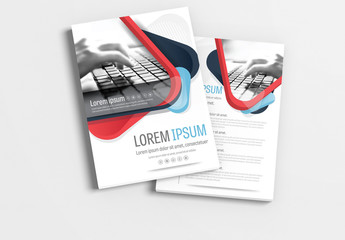 Brochure Layout with Red and Blue Accents 1