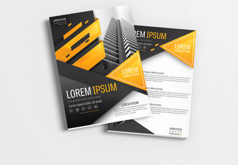 Brochure Layout with Gray and Orange Accents 2