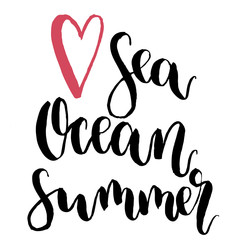 Vector Love sea, ocean, summer lettering. Hand drawn text calligraphy card isolated on white background. For design or print