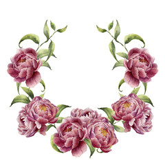 Watercolor wreath with greenery branch and peony. Hand painted floral frame with flowers and leaves isolated on white background. For design or print