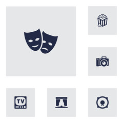 Set Of 6 Pleasure Icons Set.Collection Of Television, Snack, Photography And Other Elements.
