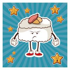 kawaii roll japanese food angry character vector illustration