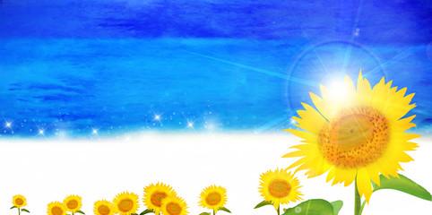 ひまわり 海 夏 背景