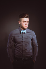 Studio fashion portrait young man