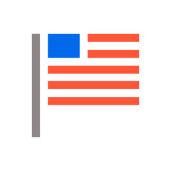 Minimal USA flag icon. Unaited states of America flag icon isolated minimal design. Vector illustration.