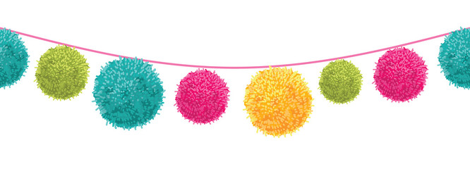 Vector Colorful Happy Birthday Party Pom Poms Set On A String Horizontal Seamless Repeat Border Pattern. Great for handmade cards, invitations, wallpaper, packaging, nursery designs.