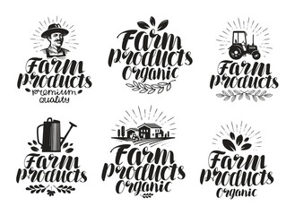Farm products, label set. Farming, agriculture icon or symbol. Handwritten lettering vector illustration