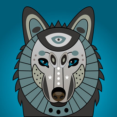 Decorated head of wolf