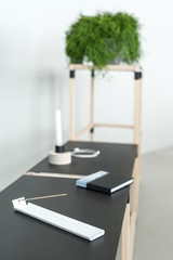 Wooden construct with black tabletops