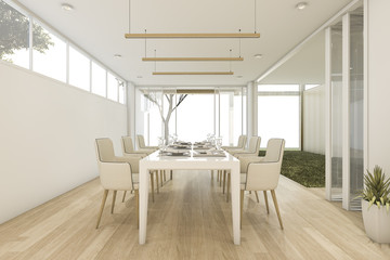 3d rendering minimal dining room with table and chair