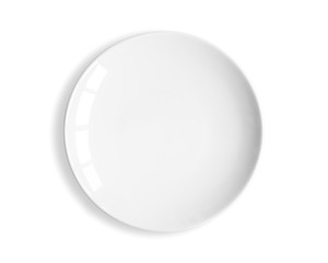 Top view of blank white dish on a white background.