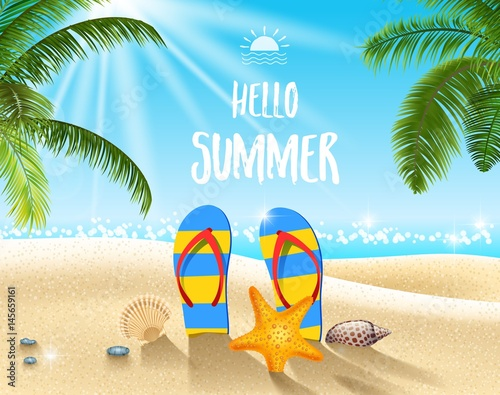"Enjoy Tropical Summer Holidays Backgrounds Vector 04 Free: ""Summer Beach Background"" Stock Image And Royalty-free"