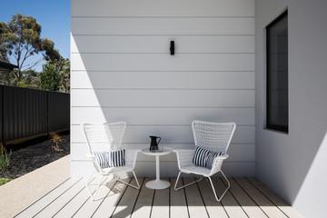 Outdoor sitting space on an al fresco deck