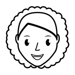 happy woman face cartoon icon over white background. vector illustration