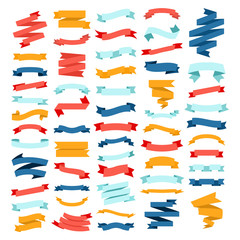 Vector set of different color flat ribbons on a white background