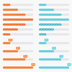 Orange and blue preloaders and progress loading bars in modern flat style