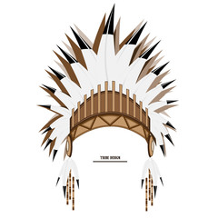 Vector Indian tribal feather hat art