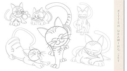 Vector kitten outline drawing set template