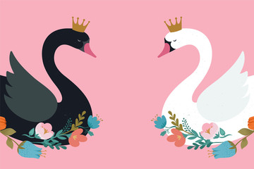 Swan lake, greeting card, poster and illustration