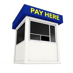 Parking Zone Booth with Pay Here Sign. 3d Rendering