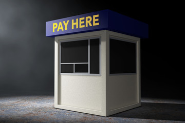 Parking Zone Booth with Pay Here Sign in the volumetric light. 3d Rendering