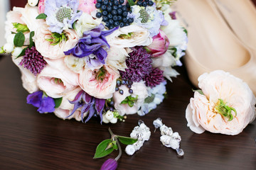 a bouquet of flowers with peony