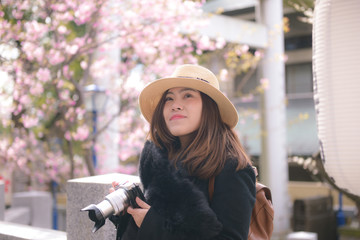 Tourist photographer is shooting cherry blossom  during spring in Tokyo, Japan.