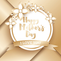Happy Mothers Day. Golden Greeting Card with Geometric Background and Flowers.