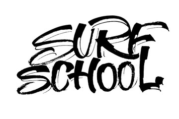 Surf School. Modern Calligraphy Hand Lettering for Serigraphy Print