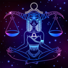 Libra zodiac sign, horoscope symbol, vector illustration