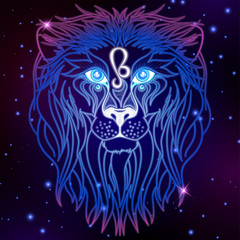 Leo zodiac sign, horoscope symbol, vector illustration