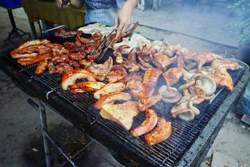 crispy grilled pork with skin. grilled pork thai style.