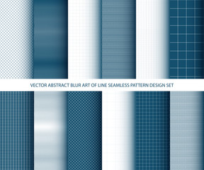 Vector abstract blue art of lines seamless pattern design set