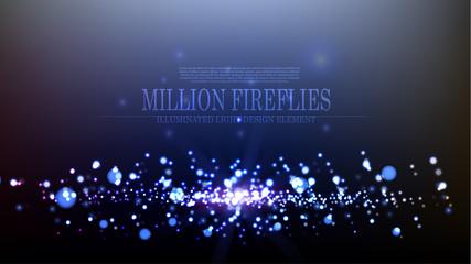 Vector abstract million fireflies background design template