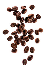 Flying coffee beans isolated on white background