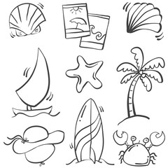 Hand draw of object summer holiday
