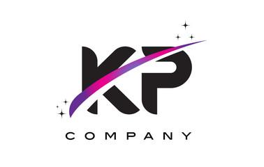 KP K P Black Letter Logo Design with Purple Magenta Swoosh